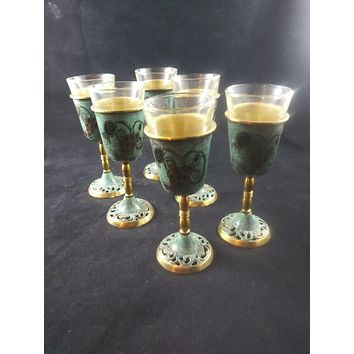 Grapes, Lost Tribes Of Israel, Hand Painted Brass Enamel YiddIsh Goblet Israel Judaism