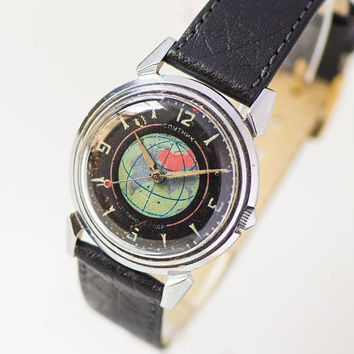 Limited edition men watch Sputnik satellite, globe rockets Soviet watch black, rare wristwatch gift space lover, new premium leather strap