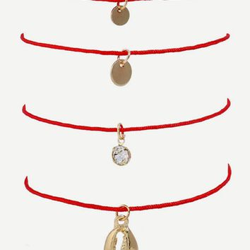 Shell & Disc Charm Bracelet Set 4pcs