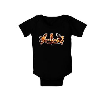 Fire Masquerade Mask Baby Bodysuit Dark by TooLoud