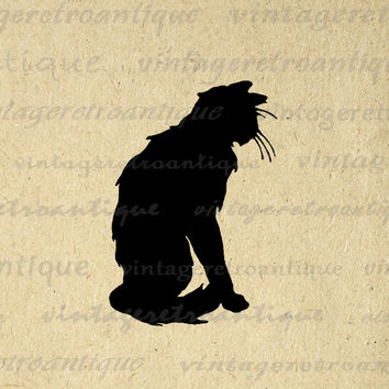 Cat Silhouette Digital Image Download Black Cat Printable Graphic Vintage Clip Art for Transfers Making Prints etc HQ 300dpi No.3625
