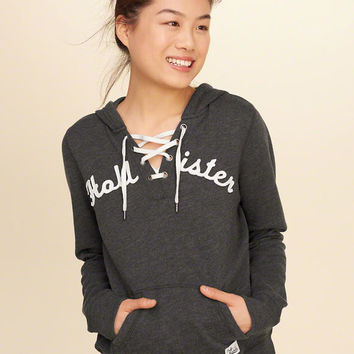 Lace-Up Graphic Hoodie from Hollister Co. 4985e9467