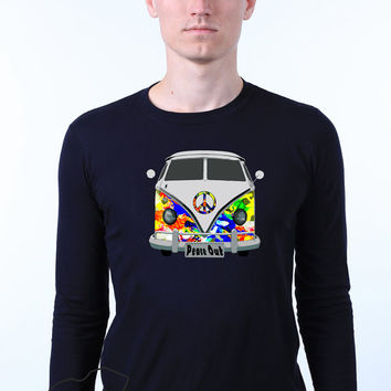 Retro Vintage Hippie Volkswagen Campervan Peace Out Long Sleeve T-shirt