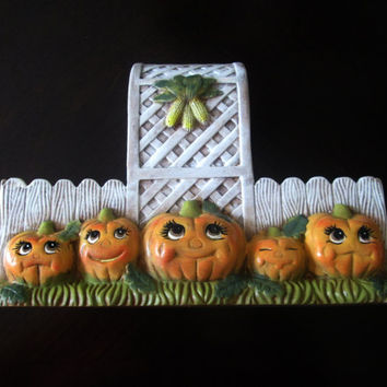 Fall Pumpkin Ceramic Basket Planter Candy Dish