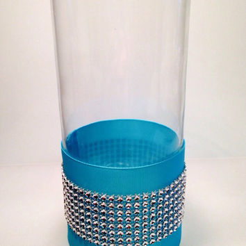 Bling vase centerpiece with faux rhinestones in Tiffany blue-bling wedding centerpiece-sparkly centerpiece-wedding vase-bling candle holder