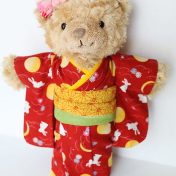 Teddy bear doll dressed in a Japanese red Kimono, collectors doll, miniature doll, Staffed doll, Japanese yukata, tenugui kimono