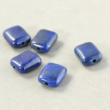 Lapis Rectangle Beads, 10mm Pillow Smooth Beads, Navy Blue Beads, Five