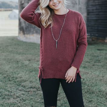 Braided Sides Sweater, Burgundy