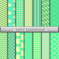 "Mint lemonade digital paper:""MINT LEMONADE"" mint,green yellow backgrounds with chevron, polkadots, stripes, lemons,gingham, Instant Download"