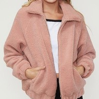 solid faux fur sherpa zip up jacket - dusty pink
