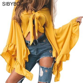 Sibybo Petal Sleeve Short Sexy Women Blouses Fashion V-Neck Slim Long Sleeve Knot Blouse Women Shirts Solid Casual Women Tops