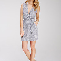 Collared Abstract Print Dress