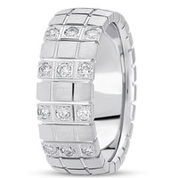 0.18ctw Diamond 14K Gold  Wedding Band (8mm) - (F - G Color, SI2 Clarity)