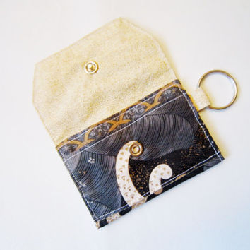 Back to School Special/ Mini key chain wallet/ simple ID Key chain/ Business card holder/ keychain coin purse / Japanese style wave & sakura