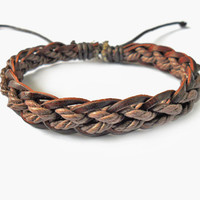 Jewelry woven bracelet leather bracelet  by braceletbanglecase