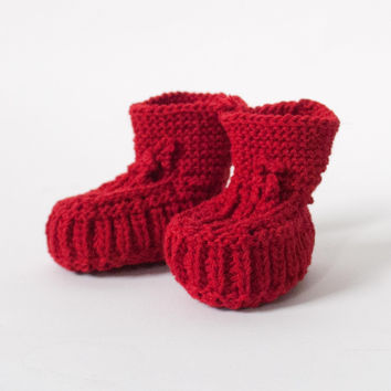 Fog Linen Work Knit Baby Booties Red