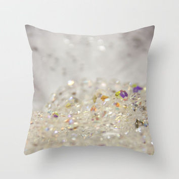 White Crystals Bokeh Throw Pillow by Shawn Terry King | Society6