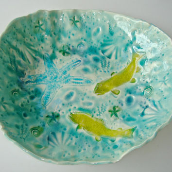 Serving Bowl, decorative bowl, fish pottery plate, fish platter, ocean inspired dish, beach wedding gift, hand painted bowl,
