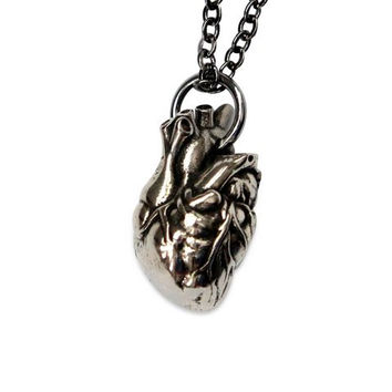 Heart Anatomical Human Heart Necklace Sterling Silver Overlay on Solid White Bronze