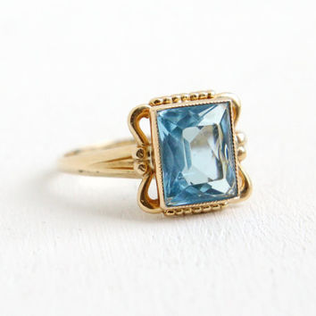 Vintage 10K Yellow Gold Simulated Aquamarine Ring - Size 3 3/4 Hallmarked P.S.Co. Plainville Stock Co. Blue Glass Stone Fine Jewelry