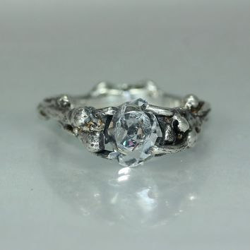 Herkimer Diamond Twig Organic Silver Womans Engagement Ring