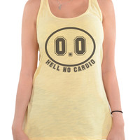 0.0 Hell No Cardio | Funny Workout Tanks | Racerback Tank