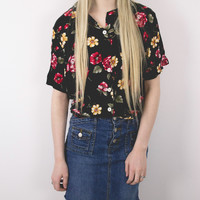 Vintage Floral Black Tropical Blouse