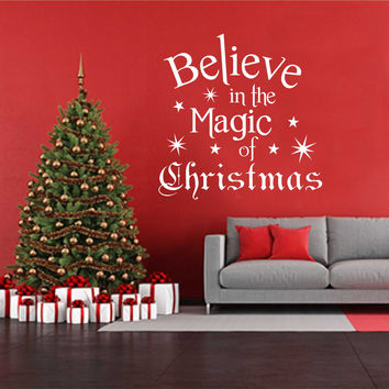 Holiday Vinyl Wall Lettering Believe in the Magic of Christmas Quotes Decoration