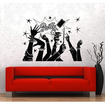 Vinyl Wall Decal Party Fun Friends Night Club Alcohol Cocktail Stickers Unique Gift (981ig)
