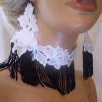 Beautiful Sexy Black & White Lace Fringe Jewelry Set, Bridesmaid Jewelry, Black White Earrings Choker, Bridesmaid Necklace, Party Earrings
