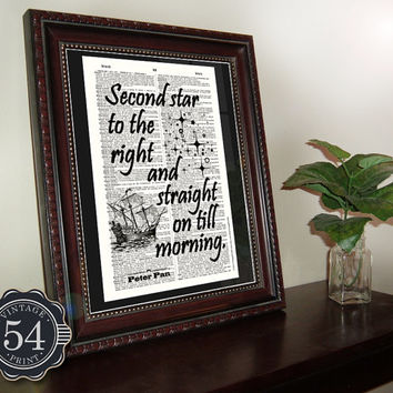 Vintage Dictionary Art Print Peter Pan Quote Second Star to the Right Upcycled Book Art Recycled Book Page Home Decor Wall Decor Peter Wendy