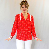 Red polka dot top. 70s shirt. Vintage red white blouse. Mad Men Fashion. Size Large. Secretary blouse. Office blouse