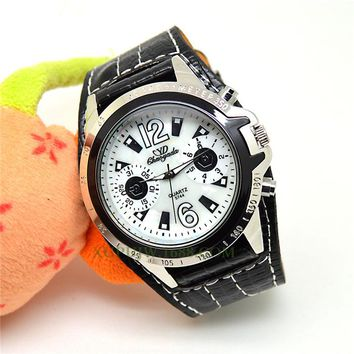 Newly Design Style Retro Punk Rock Brown Big Wide Leather Bracelet Cuff Men Watch Cool16