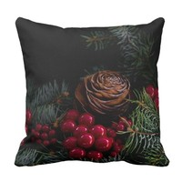 Chritsmas with pinecone , berries and pine needles throw pillow