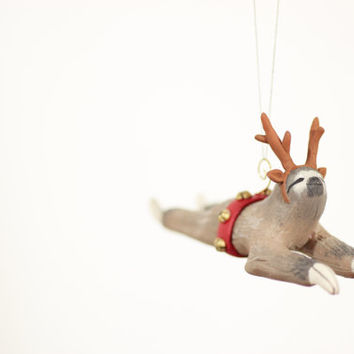 Holiday Ornament - Sloth Wearing Reindeer Antlers and Sleigh Hitch with Bells - Christmas Tree Ornament