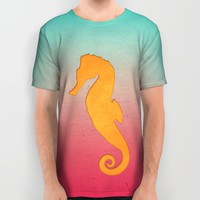 Seahorse silhouette All Over Print Shirt by EDrawings38