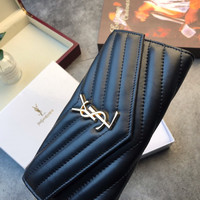 Saint Laurent YSL Leather Flap Wallet