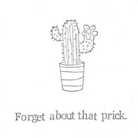 Forget About That Prick Funny Break Up Card | Friend Women Dating Relationships Humor Cute Indie Plants Nerdy Cactus Pun