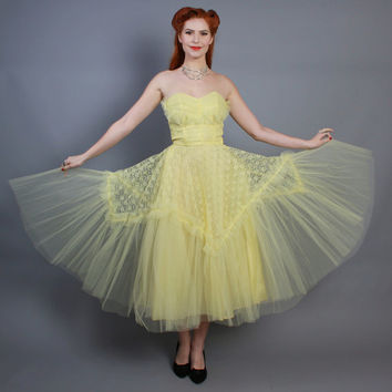 50s Yellow Prom DRESS / Strapless Poufy TULLE Full Skirt, xs
