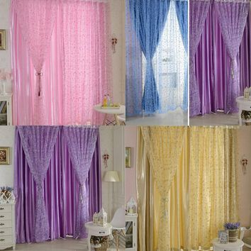 Fashion 100*200cm Window Screening Blinds Sheer Voile Gauze Curtain for Cafe Kitchen Living Room Balcony Decor