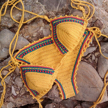 Yellow Limited Handmade Knitting Crochet swimwear Swimwear