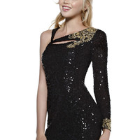 Shail K 3444 - Black Beaded One Shoulder Prom Dresses Online