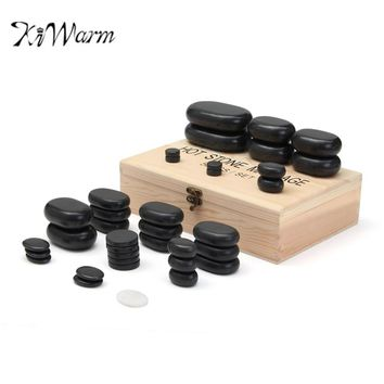KiWarm 50pcs/set Black and White Basalt Hot Stone Massage Complete Set Specialty Stones Health Care Massage Tools With Box Gift