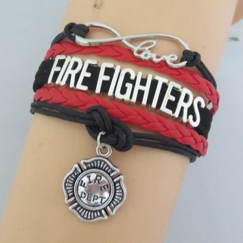 Firefighter Bracelet Fireman Charm Multilayer Leather Bracelet  I Love My Firefighter Jewelry