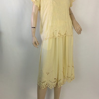 Vintage 80s Bali Dress Lace Top and Skirt Hippie Dress Cutwork Open Lace Matching Set Vintage Butter Yellow Long Dress s small m medium
