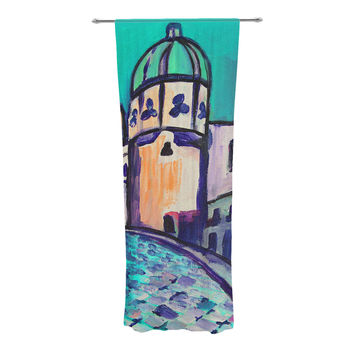 "Theresa Giolzetti ""Procida Teal"" Blue Red Decorative Sheer Curtain"