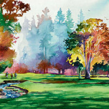 Falling Leaves at Royal Oaks- Golf Course Painting. Golf Watercolor Art. Autumn. Watercolor Fall Trees. Orange. Green. Colorful Watercolor.