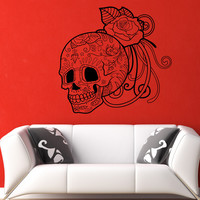 Vinyl Wall Decal Sticker Sugar Skull and Rose #1175