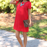 Sweet Scallops Dress, Red