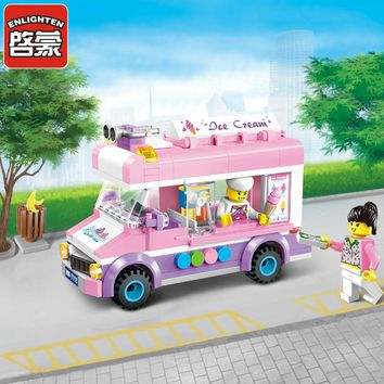 New city Ice cream truck Mobile ice cart fit legoings friends city Building Blocks Kids bircks Toys kids girl gift kid diy toy